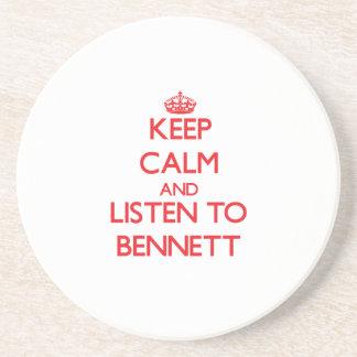 Guarde la calma y escuche Bennett Posavasos Cerveza