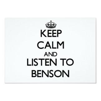 """Guarde la calma y escuche Benson Invitación 5"""" X 7"""""""