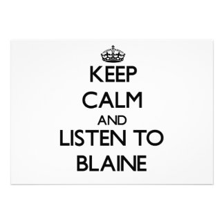 Guarde la calma y escuche Blaine Invitación