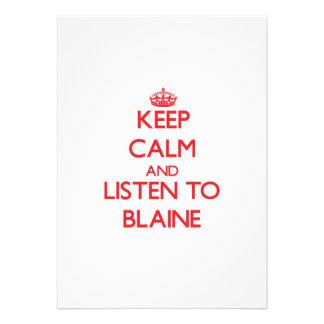 Guarde la calma y escuche Blaine Invitacion Personal