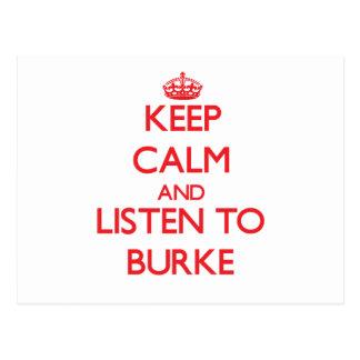 Guarde la calma y escuche Burke Postal