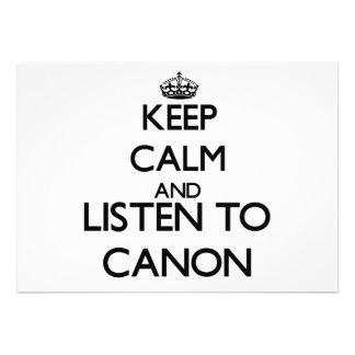 Guarde la calma y escuche CANON Anuncio Personalizado