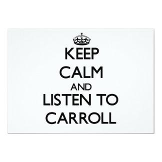 Guarde la calma y escuche Carroll Invitacion Personalizada