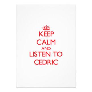 Guarde la calma y escuche Cedric Invitacion Personalizada