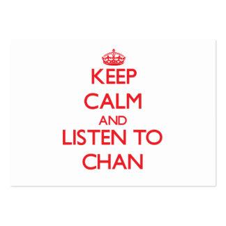 Guarde la calma y escuche Chan Tarjetas De Visita Grandes