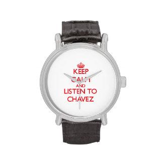 Guarde la calma y escuche Chavez Relojes De Pulsera
