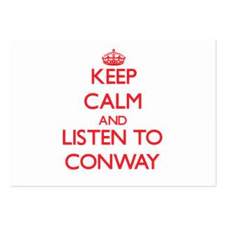 Guarde la calma y escuche Conway Tarjetas De Visita Grandes