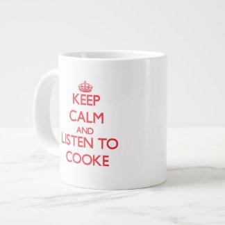 Guarde la calma y escuche Cooke Tazas Jumbo