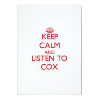 Guarde la calma y escuche $cox
