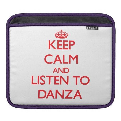 Guarde la calma y escuche DANZA Fundas Para iPads