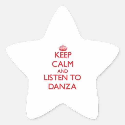 Guarde la calma y escuche DANZA Calcomanía Cuadrada