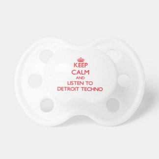 Guarde la calma y escuche DETROIT TECHNO Chupete De Bebé