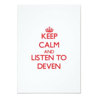 Guarde la calma y escuche Deven Invitacion Personalizada
