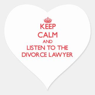 Guarde la calma y escuche el abogado de divorcio calcomania de corazon personalizadas