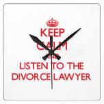 Guarde la calma y escuche el abogado de divorcio reloj