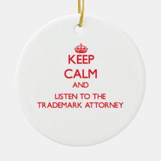 Guarde la calma y escuche el abogado de la marca adorno navideño redondo de cerámica