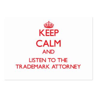 Guarde la calma y escuche el abogado de la marca r plantilla de tarjeta de negocio