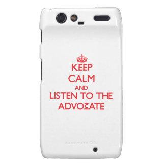 Guarde la calma y escuche el abogado droid RAZR carcasa