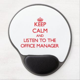 Guarde la calma y escuche el administrador de ofic alfombrilla de ratón con gel
