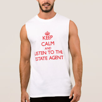 Guarde la calma y escuche el agente de la camisetas sin mangas