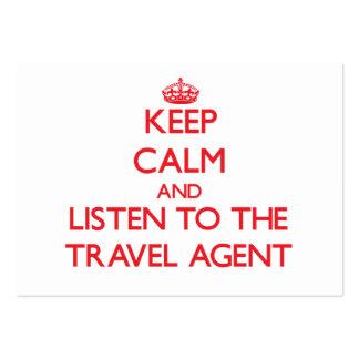 Guarde la calma y escuche el agente de viajes tarjetas de visita grandes