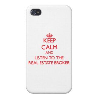 Guarde la calma y escuche el agente inmobiliario iPhone 4/4S carcasa