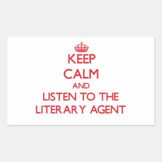 Guarde la calma y escuche el agente literario pegatina rectangular