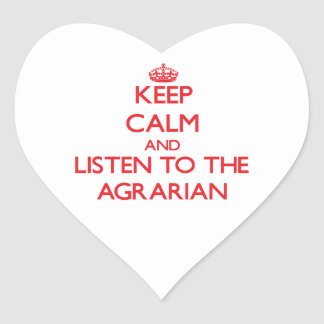 Guarde la calma y escuche el agrario pegatina en forma de corazón