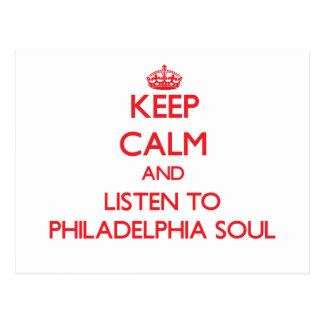 Guarde la calma y escuche el ALMA de PHILADELPHIA Tarjeta Postal