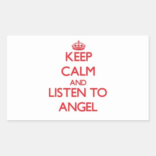 Guarde la calma y escuche el ángel pegatina rectangular