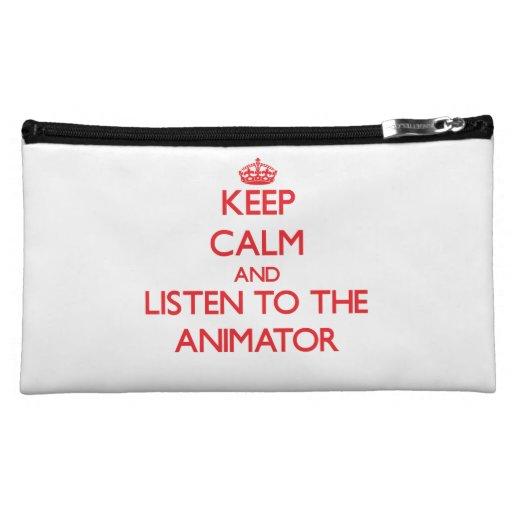 Guarde la calma y escuche el animador