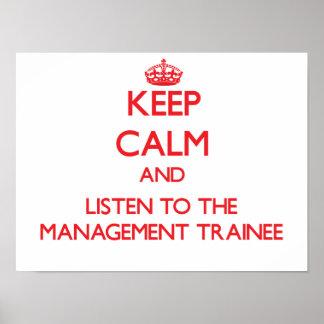 Guarde la calma y escuche el aprendiz de la gestió poster