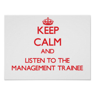 Guarde la calma y escuche el aprendiz de la gestió posters