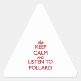 Guarde la calma y escuche el árbol descopado colcomanias triangulo