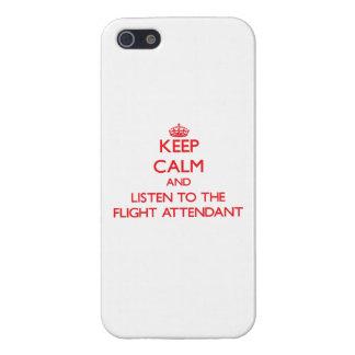 Guarde la calma y escuche el asistente de vuelo iPhone 5 carcasa