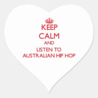 Guarde la calma y escuche el AUSTRALIANO HIP HOP Calcomania Corazon