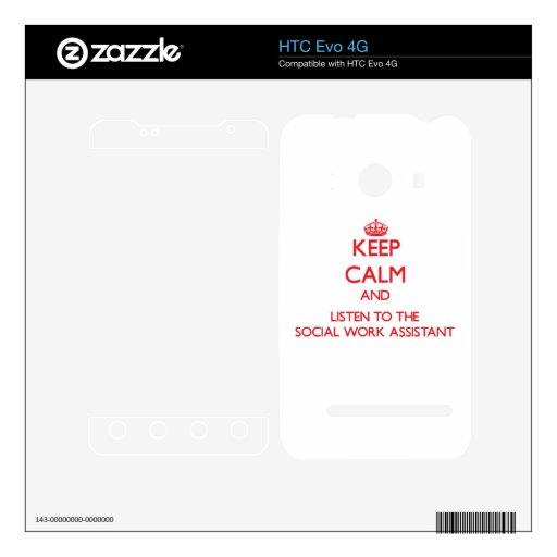 Guarde la calma y escuche el ayudante del trabajo  calcomanías para HTC evo 4G