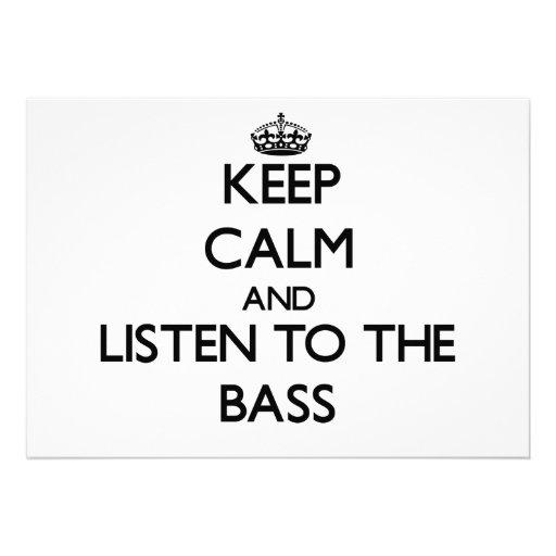 Guarde la calma y escuche el bajo comunicados personales