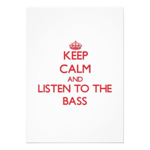 Guarde la calma y escuche el bajo invitaciones personalizada
