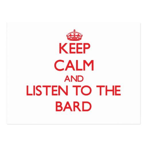 Guarde la calma y escuche el bardo postal