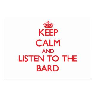Guarde la calma y escuche el bardo tarjetas de visita