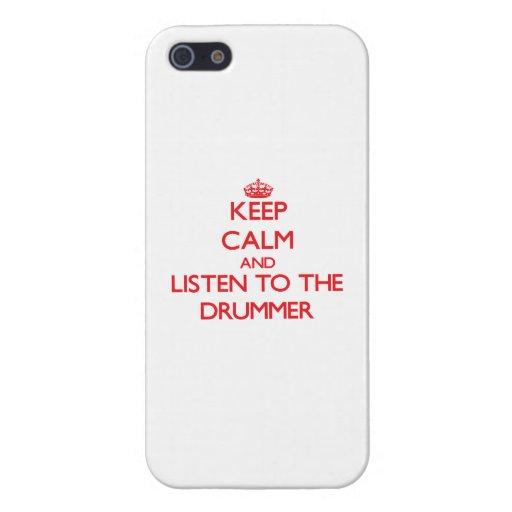 Guarde la calma y escuche el batería iPhone 5 fundas