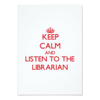 """Guarde la calma y escuche el bibliotecario invitación 5"""" x 7"""""""