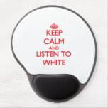 Guarde la calma y escuche el blanco alfombrilla con gel