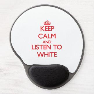 Guarde la calma y escuche el blanco alfombrillas de ratón con gel
