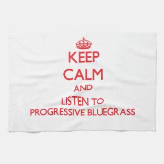 Guarde la calma y escuche el BLUEGRASS PROGRESIVO Toalla