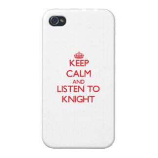 Guarde la calma y escuche el caballero iPhone 4 carcasa