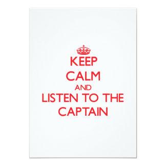 """Guarde la calma y escuche el capitán invitación 5"""" x 7"""""""