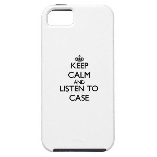 Guarde la calma y escuche el caso iPhone 5 Case-Mate cobertura