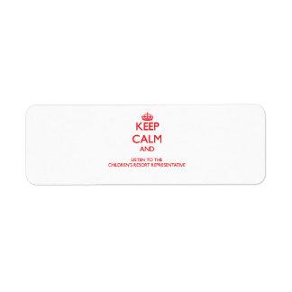 Guarde la calma y escuche el centro turístico Repr Etiqueta De Remite